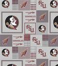 Florida State University Seminoles Fleece Fabric 58\u0022-Gray Block