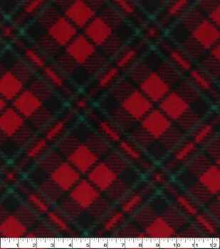 Christmas Anti-Pill Plush Fleece Fabric-Red & Green Diagonal Plaid