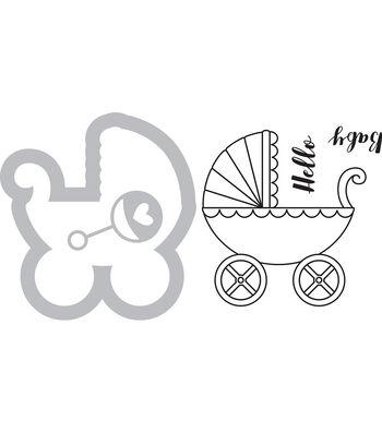 Sizzix Framelits Jen Long Die & Stamp Set-Baby Carriage
