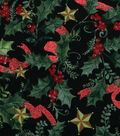 Christmas Cotton Fabric-Holly Star & Ribbon Foil