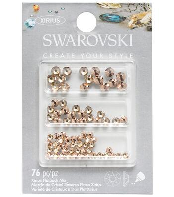 Swarovski 76 pk Xirius Flat Back Rhinestones-Ivory, Blush & Rose Gold