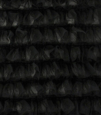 Sew Sweet Mesh Fabric with Ruffles-Black