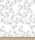 Cat Line Art Print Fabric