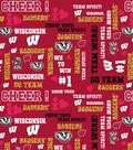 University of Wisconsin Badgers Cotton Fabric -Glitter