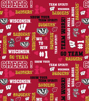 """University of Wisconsin Badgers Cotton Fabric 44""""-Glitter, , hi-res"""