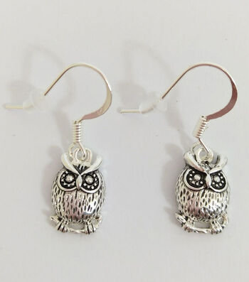 hildie & jo Owls Dangle Metal Silver Earrings