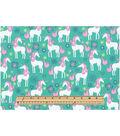Novelty Cotton Fabric-Unicorns Turq