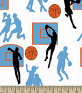 Basketball Jump Shot Print Fabric