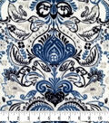 Specialty Luxe Fleece Fabric-Navy Damasks on White
