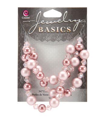 Jewelry Basics Pearl/Crystal Bead Mix 8mm/10mm 51/Pkg-Pink/Bronze
