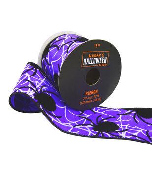 Maker's Halloween Decor Ribbon 2.5''x12'-Spiders on Purple