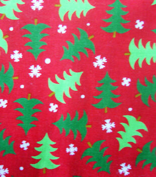 Holiday Cotton Fabric -Trees and Snow
