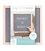DCWV Home 12''x12'' Gray Oak Letter Board with 1'' White Letters, , hi-res