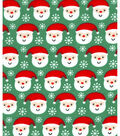 Holiday Showcase Christmas Cotton Fabric 43\u0027\u0027-Ditsy Santa & Snowflakes on Green