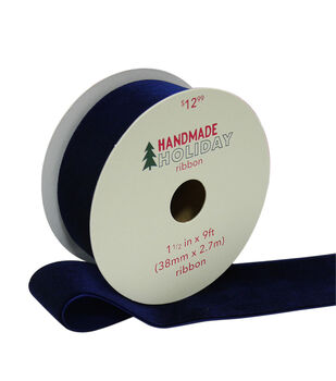 Handmade Holiday Christmas Velvet Ribbon 1.5''x9'-Navy Blue