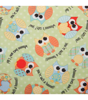Babyville PUL Fabric-Owls Green
