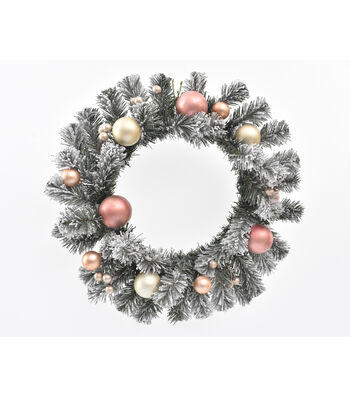Blooming Holiday 22'' Flocked Pine Wreath with Pink & Gold Ornaments