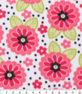 Blizzard Fleece Fabric-Floral Dots on White