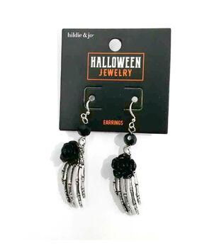 hildie & jo Halloween Silver Ghost Hand Earrings with Black Flower