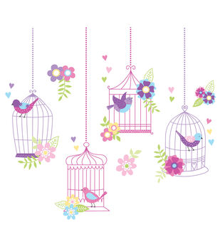 Wall Pops Chirping the Day Away Wall Art Decal Kit, 27 Piece Set