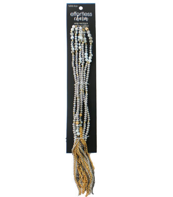 hildie & jo Effortless Charm 52.75'' Round Bead Wrap Necklace-Gray