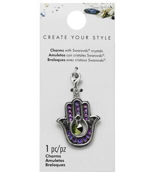 Swarovski Create Your Style Hamsa Hand Charm-Multi Crystals