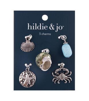 hildie & jo 5 pk Zinc Alloy, Stone & Shell Ocean Animal Charms
