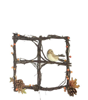 Blooming Autumn Window Frame with Bird
