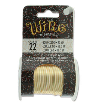 Wire Elements 22 Gauge 20yds Tarnish-Resistant Wire-Gold