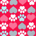 Valentine\u0027s Day Snuggle Flannel Fabric-Pup Heart Paws on Red