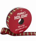 Maker\u0027s Holiday Textured Ribbon 5/8\u0027\u0027x9\u0027-Red, Black & Ivory Plaid