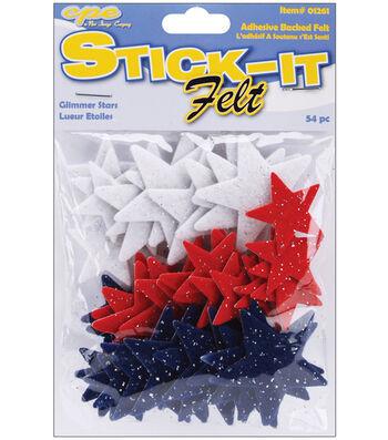Stick It Felt Glimmer Shapes-54PK/Stars