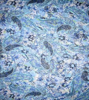 Fast Fashion Yoryu Chiffon Fabric-Blue Paisley Scroll