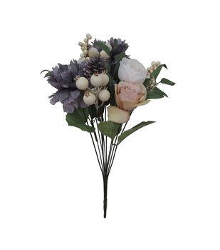 Blooming Autumn Peony, Rose, Pinecone & Berry Bush-Gray & White
