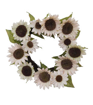 Blooming Autumn Water Resistant Sunflower Wreath-White