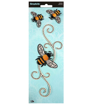 Simplicity Large Scroll with Bees Iron-on Applique-Multi