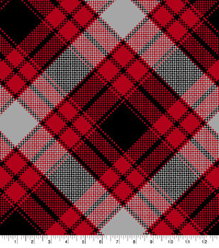Blizzard Fleece Fabric-Red & Black Annie Plaid