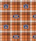 Auburn University Tigers Fleece Fabric -Plaid