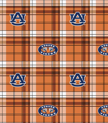 Auburn University Tigers Fleece Fabric -Plaid