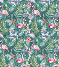 Novelty Cotton Fabric Watercolor Flamingos