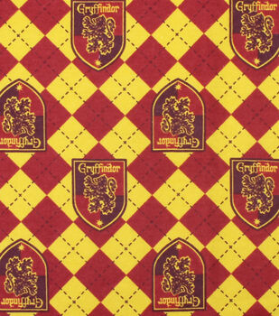 Harry Potter Flannel Fabric-Gryffindor on Argyle