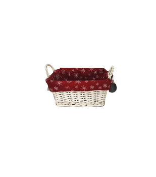 Handmade Holiday Christmas 11'' Basket with White Snowflakes Liner