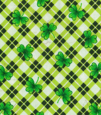 St. Patrick's Day Fabric 43''-Shamrock on Plaid