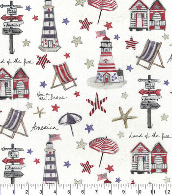 Patriotic Cotton Fabric-Patriotic Beach Day