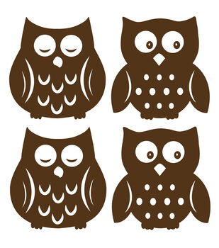 Wall Pops Espresso Brown Owl Silhouette Decals