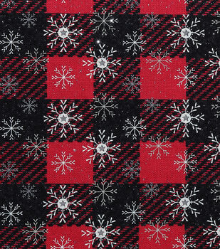Christmas Glitter Cotton Fabric-Snowflakes with Stars on Plaid