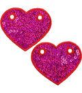 Wrights 2 pk 2.1\u0027\u0027x2.5\u0027\u0027 Heart Shoe Embellishments-Red