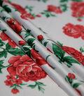 Casa Embellish Gardenia Satin Fabric 57\u0027\u0027-Tango Red Floral
