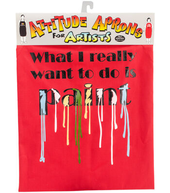 Attitude Artist Apron Red-Want To Paint