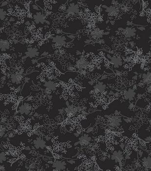 Keepsake Calico Cotton Fabric -Floral On Black